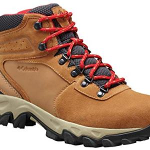Columbia Men's Newton Ridge Plus II Suede Waterproof Boot, Breathable with High-Traction Grip Hiking, Elk, Mountain Red, 7.5 Regular US