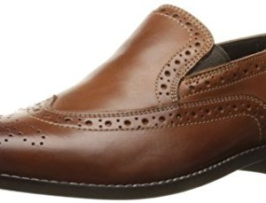 Nunn Bush Men's Norris Wingtip Double Gore Slip-On Loafer, Cognac, 12