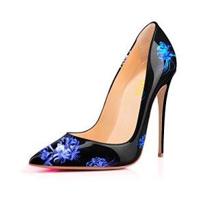 YCG Women's High Heels Pumps Blue Flower Printing Slip on Shoes