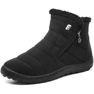 L-RUN Womens Ankle Snow Boots Winter Fur Boots Slip-on