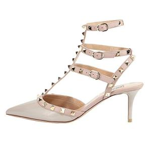 June in Love Women's Heeled Shoes, Sexy Rivets Studs Decoration Pointed Toe Thin Heel Sandals Apricot US11