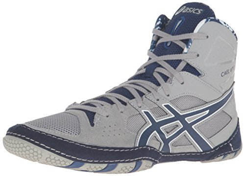 ASICS Men's Cael V7.0 Wrestling Shoe, Light Grey/Estate Blue/White