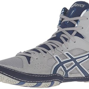 ASICS Men's Cael V7.0 Wrestling Shoe, Light Grey/Estate Blue/White