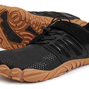 WHITIN Men's Trail Running Shoes Minimalist Barefoot 5 Five Fingers Wide Width Toe Box Gym Workout Fitness Low Zero Drop Male Walking Trainer Cross Training Crossfit Black Gum Size 8