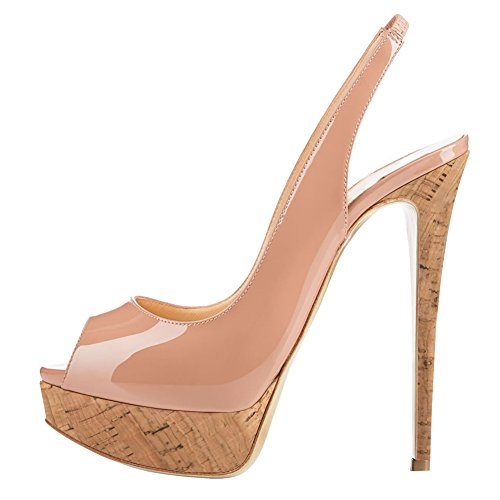 MERUMOTE Women's Slingbacks Peep Toe High Heels Shoes Platform