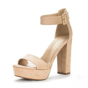 DREAM PAIRS Women's Hi-Lo Nude Suede High Heel Platform Pump Sandals - 5.5 M US