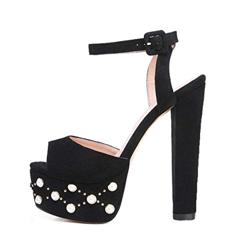 Onlymaker Women's Heeled Sandals Platform Stud and Pearl Embellishment Block