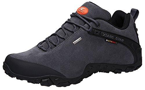 XIANG GUAN Men's Outdoor Low-Top Lacing Up Water Resistant Trekking Hiking Shoes Grey 9.5