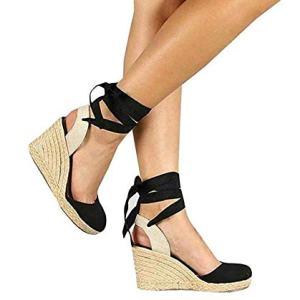 PiePieBuy Womens Espadrille Wedges Ankle Strap Closed Toe Heeled Sandals