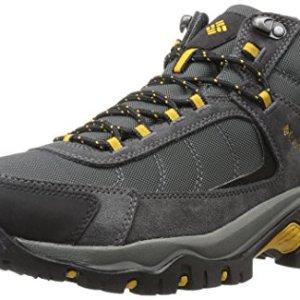 Columbia Men's GRANITE RIDGE MID WATERPROOF Hiking Shoe, Dark Grey, Golden Yellow, 9.5 D US