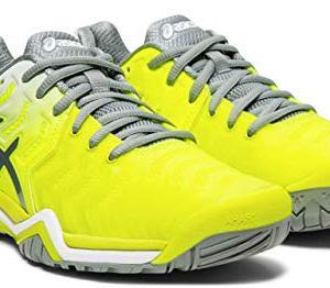 ASICS Gel-Resolution 7 Women's Tennis Shoe, Safety Yellow/Stone Grey