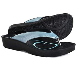 AEROTHOTIC Original Orthotic Comfort Thong Sandal and Flip Flops with Arch Support for Comfortable Walk (US Women 8, Pearly Blue)