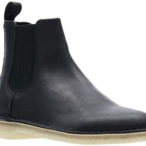 CLARKS Men's Desert Peak Chelsea Boot, Black Leather, 12 M US