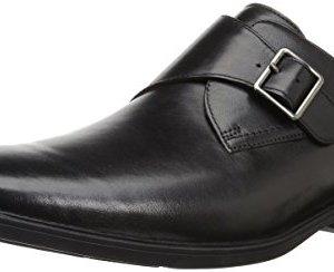 Clarks Men's Tilden Style Monk-Strap Loafer, Black Leather, 9 M US