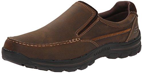 Skechers USA Men's Braver Rayland Slip-On Loafer,Dark Brown Leather