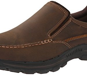 Skechers USA Men's Braver Rayland Slip-On Loafer,Dark Brown Leather