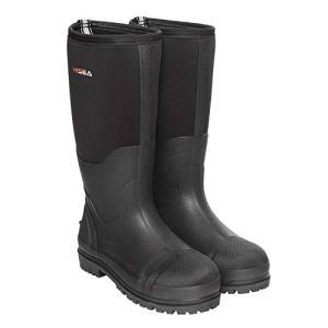 Hisea Rubber Hunting Boots for Men Waterproof Insulated Men's Neoprene Muck Outdoor Boots Black