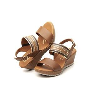 Flexi ELENNA Women's Genuine Leather Shiny Strips Wedge Sandals
