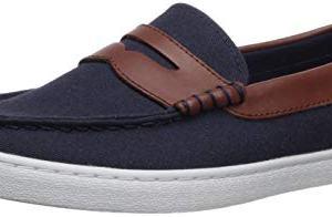 Cole Haan Men's Nantucket Loafer, Blazer Blue Textile/Chestnut Leather