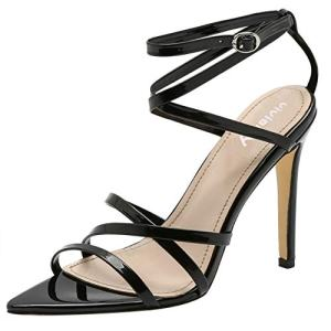 vivianly High Heel Sandal Pointed Toe Ankle Strappy Sandals Stilettos Heels Shoes for Party and Prom Black