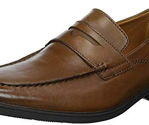 CLARKS Men's Tilden Way Penny Loafer, tan Leather, 10.5 Medium US
