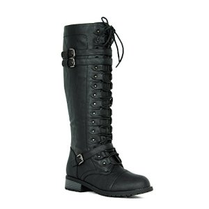 Women's Knee High Riding Boots Lace up Buckles Winter Combat Boots Black 6.5