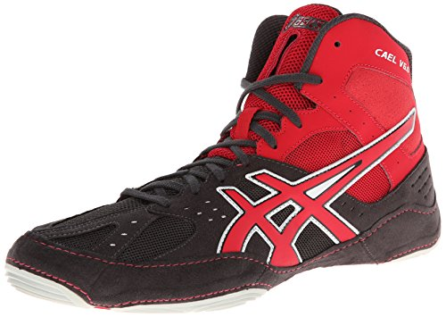 Asics Men's Cael V6.0 Wrestling Shoe,Charcoal/Fire Red/Silver