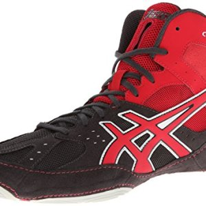 Asics Men's Cael V6.0 Wrestling Shoe,Charcoal/Fire Red/Silver