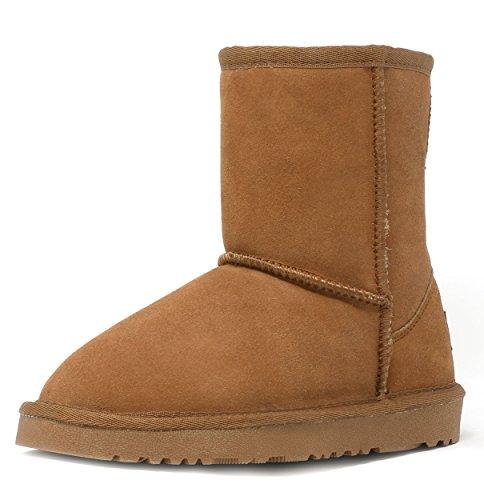 DREAM PAIRS Little Kid Shorty-K Chesnut Sheepskin Fur Winter Snow Boots