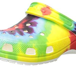 Crocs Kids' Classic Tie-Dye Graphic Clog | Casual Water or Beach Shoe