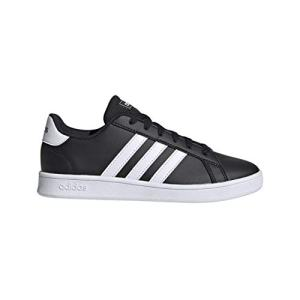 adidas Unisex Grand Court Wide Sneaker, Black White