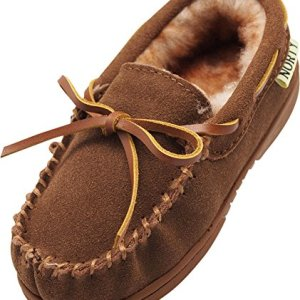 NORTY - Big Boys Suede Moccasin Slipper, Chestnut