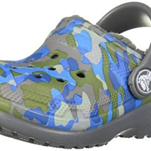 Crocs Kid's Classic Printed Lined Clog, Charcoal