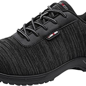 LARNMERN Steel Toe Shoes Men, Safety Work Reflective Strip Slip Resistant