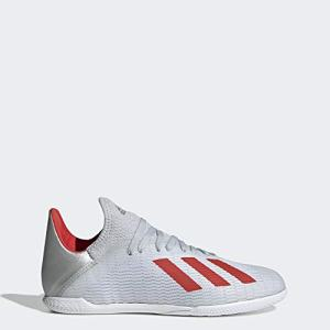 adidas Unisex X 19.3 Indoor Soccer Shoe, Silver Metallic/hi-res red/White