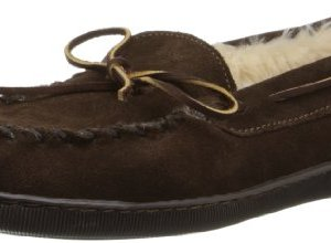 Minnetonka Men's Pile Lined Hardsole Slipper,Chocolate
