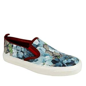 Gucci Women's Blue Bloom Supreme Canvas Slip On Sneaker