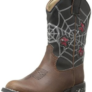 Roper Light Up Spiders Western Boot (Toddler/Little Kid),Brown/Black