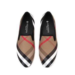 HI&HANN Plaid Canvas Loafers Men 's Casual Shoes Smoking Slipper