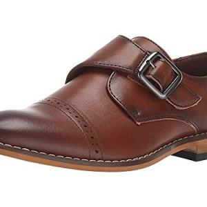 STACY ADAMS Boys' Desmond Cap-Toe Monk Strap Loafer