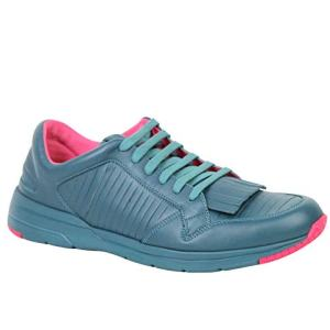 Gucci Fringe Teal/Pink Contrast Leather Sneakers