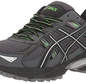 ASICS Men's Gel-Venture 5 Trail Runner, Carbon/Silver/Green Gecko