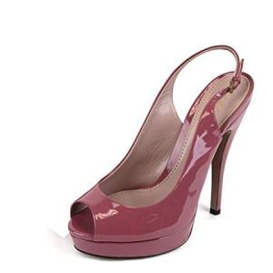Gucci Women's Dark Pink Patent Leather Back Sling Platforms