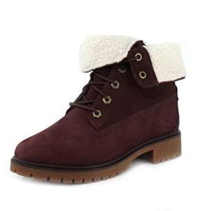 Timberland Women's Jayne Waterproof Teddy Fleece Fold Down Burgundy