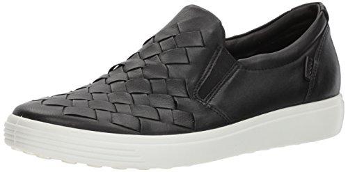 ECCO Women's Soft 7 Slip Fashion Sneaker, Black Woven