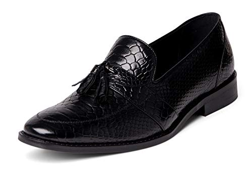 Carlos Santana Tijuana Men's Designer Tassel Loafers Croco Dress Shoe