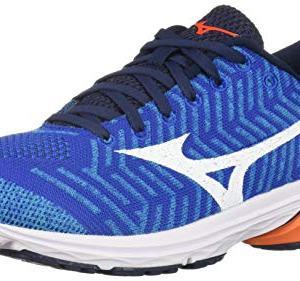 Mizuno Men's Wave Rider 22 Knit Running Shoe nautical blue-red orange