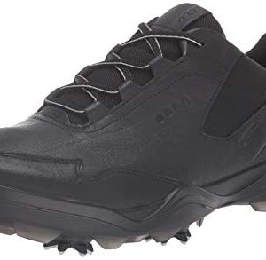 ECCO Men's Strike Gore-TEX Golf Shoe, Black Yak Leather