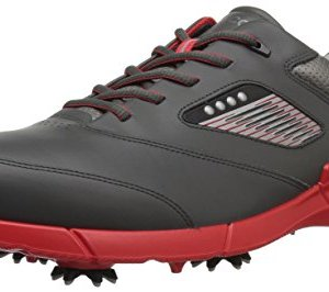 ECCO Men's Base One Golf Shoe, Black/Scarlet Hydromax