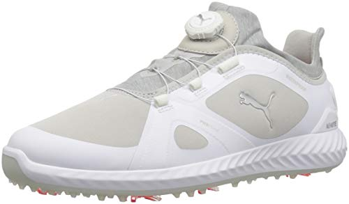 PUMA Golf Men's Ignite Pwradapt Disc Golf Shoe, White/Gray Violet